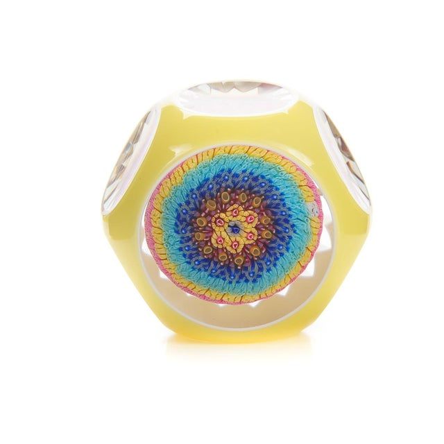 Baccarat Double Overlay Yellow Glass Paperweight - Image 3 of 8