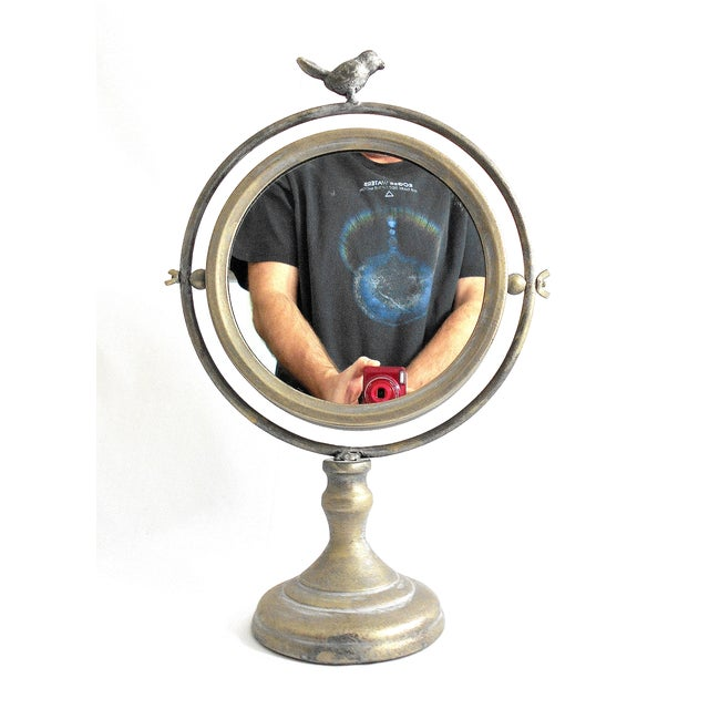 Tilting Metal Mirror on Stand With Bird Finial - Image 2 of 7