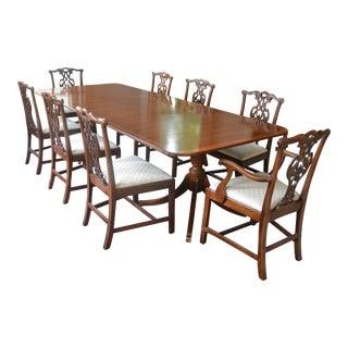 Baker Regency Mahogany Dining Table & Chairs - Set of 9