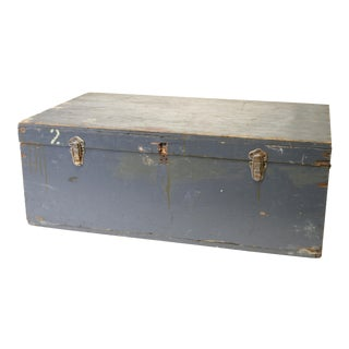 Vintage Industrial Military Blue Hinged Lid Storage Chest