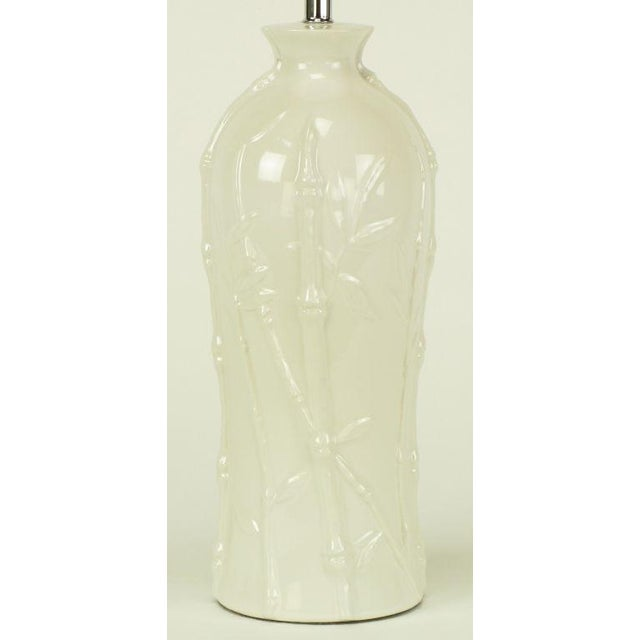 Image of Glazed White Bamboo Relief Ceramic Table Lamp