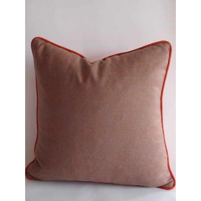 Image of Grey & Orange Plaid Pillow in Ralph Lauren Fabric