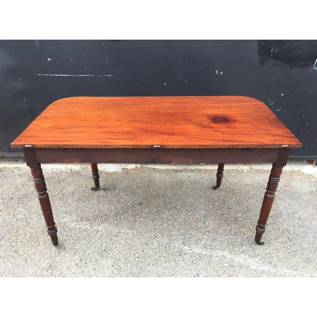 Antique English Walnut Writing Desk on Brass Casters - Image 10 of 11