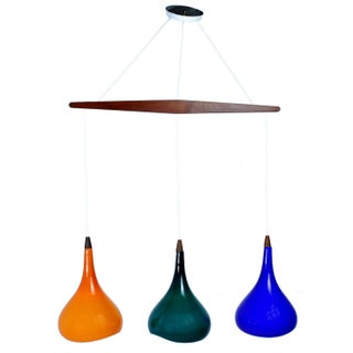 Danish Pendant Light with Colored Glass Shades