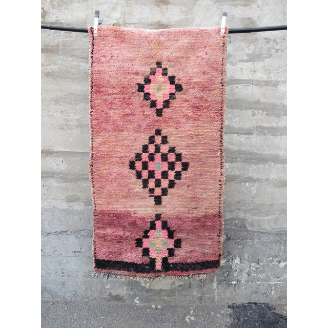 Pink Moroccan Azilal Runner - 2′11″ × 5′5″ - Image 2 of 4