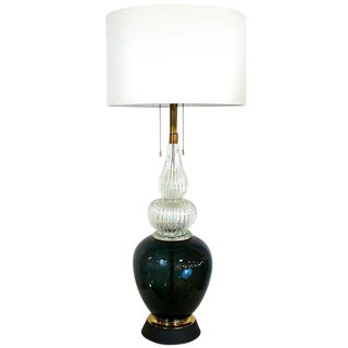Monumental Black and Clear Venini Lamp