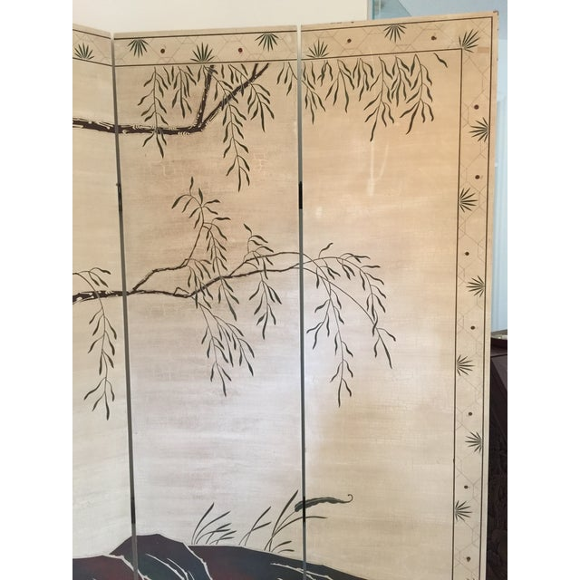 Hand-Painted Chinese Wood Screen - Image 5 of 11