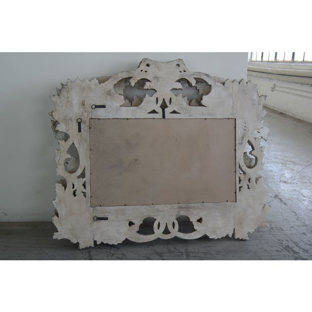 Image of Hand Carved Beveled Wood Frame Mirror