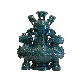 Chinese Ceramic Green Glaze Rams Ceremony Figure