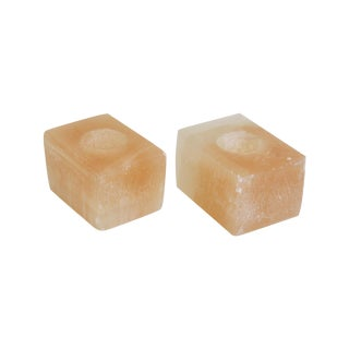 Pink Calcite Votive Holders - Pair