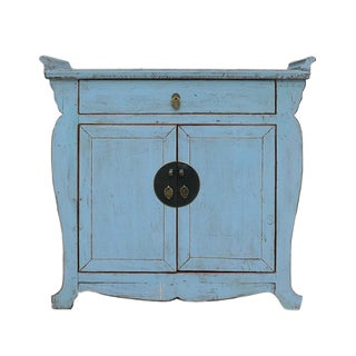 Chinese Oriental Rustic Blue Side Table Cabinet