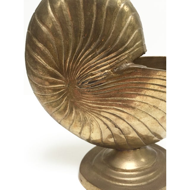 Vintage Brass Nautilus Shell Planter - Image 8 of 9