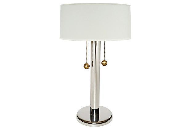 Amazing George Kovacs Chrome Table Lamp W Ball Pulls   Image 1 Of 10