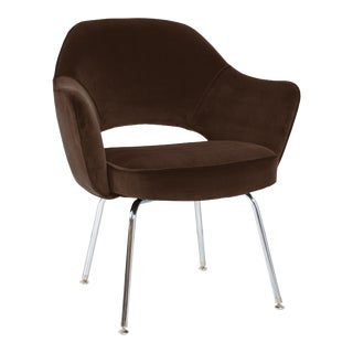Saarinen Executive Armchair in Espresso Brown Velvet