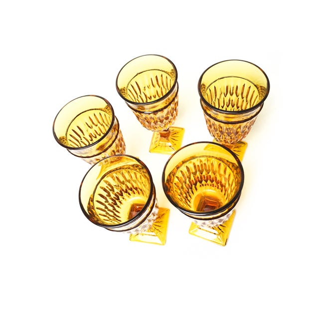 Vintage Mid Century Amber Indiana Glass Mt. Vernon Water Goblets - Set of 5 - Image 2 of 3