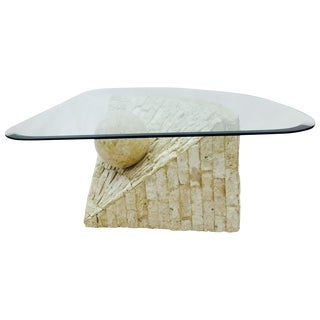 Mid-Century Modern Stone & Glass Side Table