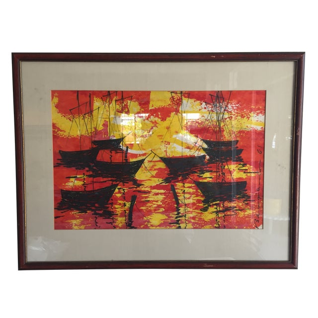 Mid-Century Modern Signed Water Color Painting - Image 1 of 11
