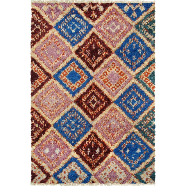 "Pink & Blue Moroccan Wool Area Rug - 5' 5"" X 8' 5"""