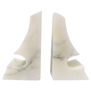 Italian Modern Marble Bookends - Pair
