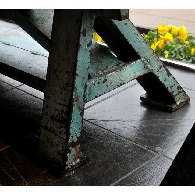 Rustic Industrial-Inspired Reclaimed Wood Bench - Image 3 of 5