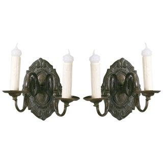Pair of Antique Flemish Baroque-Style Bronze Sconces