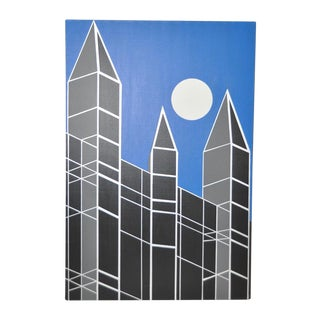Charles Hersey Geometric Abstract Cityscape w/ Full Moon c.1989