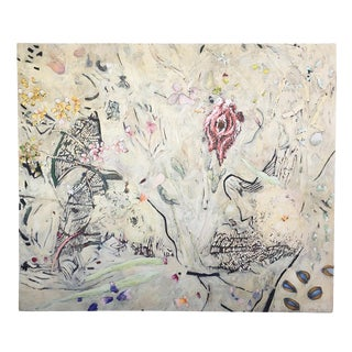 Jim Waid Large Neutral Biomorphic Abstract on Canvas Painting