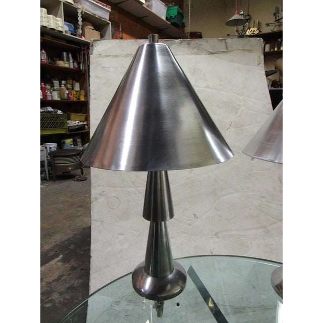 Image of Cast Aluminum Lamps - Pair