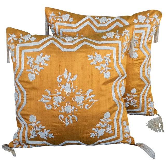 Embroidered Silk Accent Pillow Covers - A Pair - Image 1 of 4