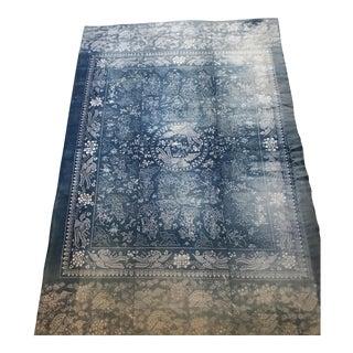 Antique Asian Faded Indigo Cotton Shanghai Batik Mystical Dragon Textile