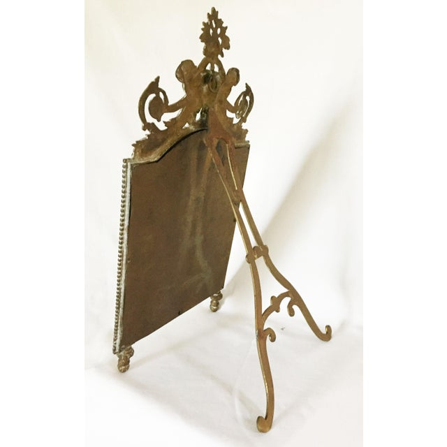 Antique Brass Cherub Table Top Easel Back Mirror - Image 4 of 5