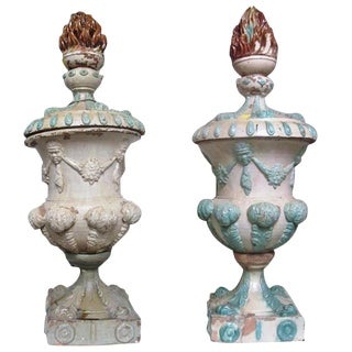 Pair of French Colonial Glazed Terracotta Urns