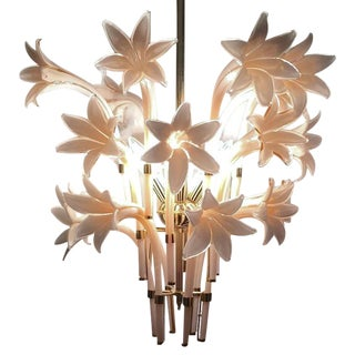 Vintage Pink Lily Murano Chandelier