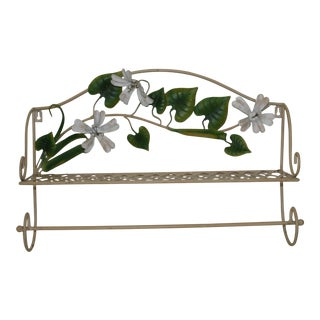 Vintage Italian Tole Floral Lattice Wall Shelf