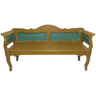 Hungarian Mustard and Green Painted Bench, circa 1900
