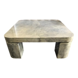 Karl Springer Style Lacquered Goatskin Coffee Table