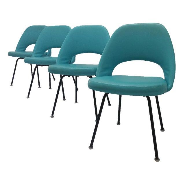 Eero Saarinen Turquoise Chairs - Set of 4 - Image 1 of 6