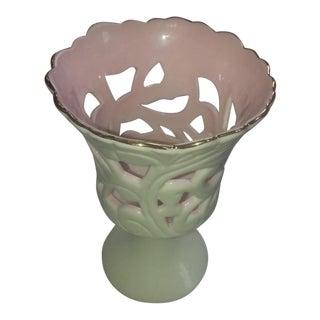 White & Pink Milk Glass Tea Light Holder