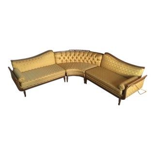 French Provincial Brocade Sectional Sofa