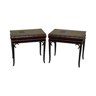 Maitland-Smith Regency Style Faux Book Side Tables - A Pair