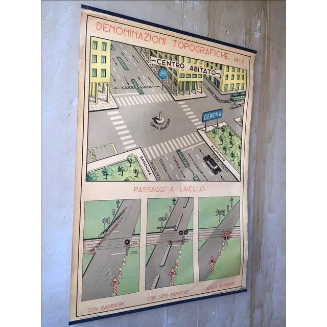 Vintage Italian Poster Chart w/ Topographic Names - Image 4 of 7