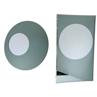 Rectangular and Round Modernist Mirrors with 3d Circles - A Pair