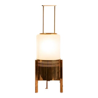 Mid-Century Brass and Milk Glass Stilnovo Table Lamp