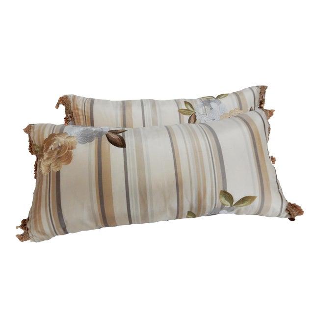 Custom Made Silk Lumbar Pillows - A Pair - Image 1 of 9