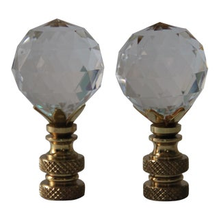Faceted Acrylic Crystal Lamp Finials - A Pair