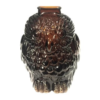 Brown Glass Owl Vase or Bank