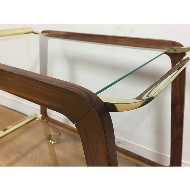 Mid-Century Austrian Walnut & Brass Trolly Cart - Image 8 of 10