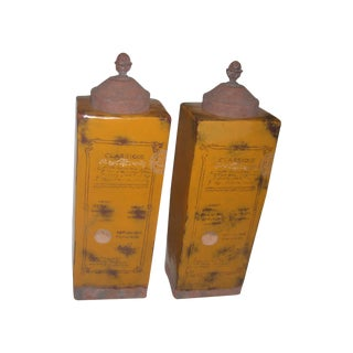 Glazed Ochre Italian Jars/Vases - A Pair