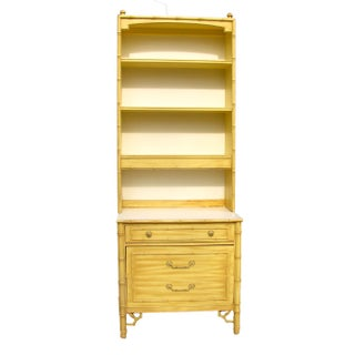 Thomasville Mid-Century Faux Bamboo Chest with Hutch