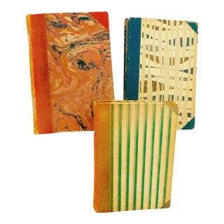 Vintage Swedish Leather Decorative Books - Set of 3